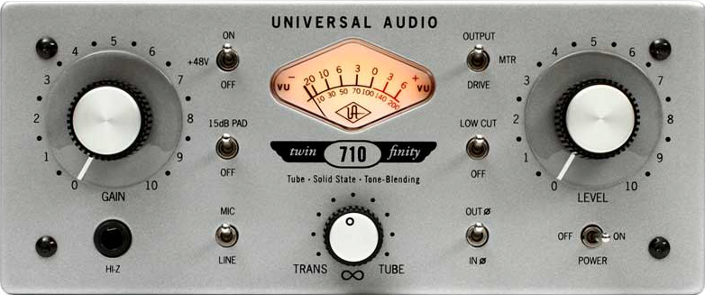 Universal Audio 710 Twin Finity Single Channel Tube Solid State Mic PreDI front view
